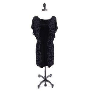 White House Black Market Velvet Flutter Dress